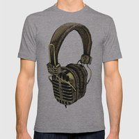 HEAD PHONE Mens Fitted Tee Athletic Grey SMALL