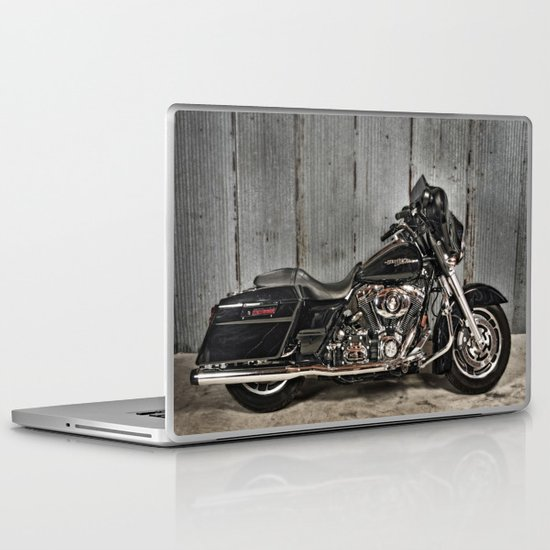 Black Harley Street Glide Laptop & iPad Skin