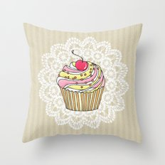 Girly Pink Cute Kawaii Cupcake Lace Stripe Pattern Throw Pillow