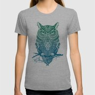 Warrior Owl Womens Fitted Tee Athletic Grey SMALL
