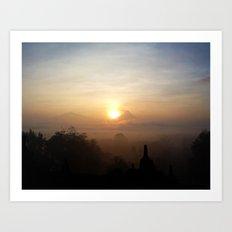Sunrise at Borobudur, Indonesia  Art Print