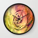 Vintage Painterly Autumn Rose Abstract Wall Clock