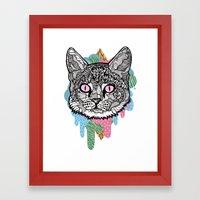 DRIPPY CAT Framed Art Print