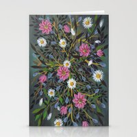 Teal Flowers Stationery Cards