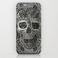 skull iPhone & iPod Cases featuring Lace Skull by Ali GULEC