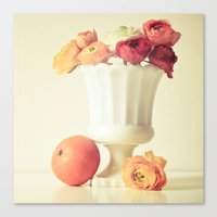 Milk Glass, Tangerine and Flowers Canvas Print