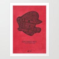 Super Mario Typography Art Print
