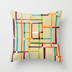 The map (after Mondrian) Throw Pillow