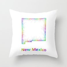 Rainbow New Mexico map Throw Pillow