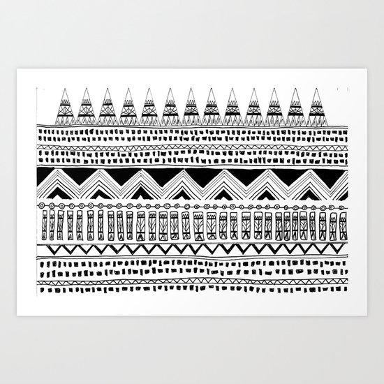 Aztec Tribal Black And White Art Print By Bananarama