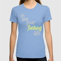 #YOLO Womens Fitted Tee Tri-Blue SMALL