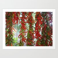 Strung And Hanging Red A… Art Print