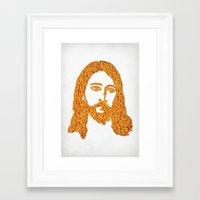 Framed Art Print featuring Cheesus by Phil Jones