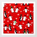 Merry Penguins (Red) Art Print