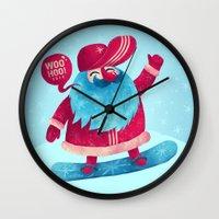 Snowboard Santa Wall Clock