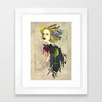 retro woman Framed Art Print