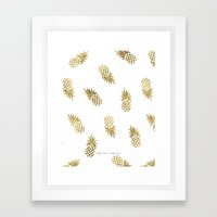 Gold Pineapples Framed Art Print