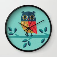 Wall Clock featuring OWL ALWAYS LOVE YOU by Daisy Beatrice