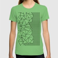 Abstraction Outline Grid on Side White Womens Fitted Tee Grass SMALL