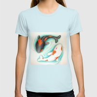 Coy Fish (Yin & Yang) Womens Fitted Tee Light Blue SMALL