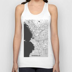 Marseille Map Gray Unisex Tank Top