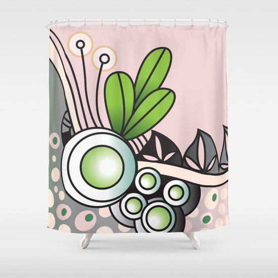 Ornate square zentangle, Pale Moss Green Shower Curtain