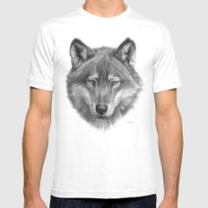Wolf face G084 Mens Fitted Tee White SMALL