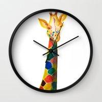 Giraffe Watercolor Print Wall Clock