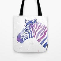 Zebra Watercolor Purple Stripes Tote Bag
