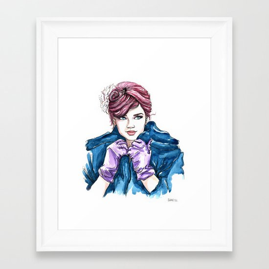 Girl With the Purple Gloves Framed Art Print