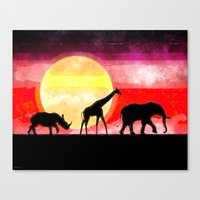 Elephant Giraffe Rhinoceros Canvas Print