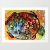 turtle Art Prints featuring  Turtle by oxana zaika