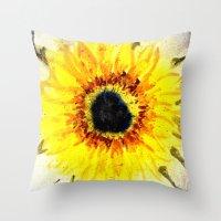 Sunflower From Water Throw Pillow