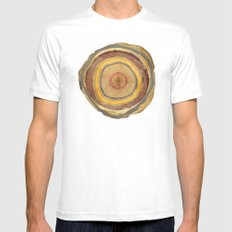 Tree Rings White Mens Fitted Tee SMALL