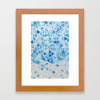 Cubes & Diamonds In Blue… Framed Art Print