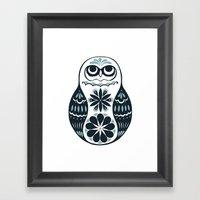 Flower Owl Matryoshka - … Framed Art Print