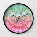 Soft Pastel Rainbow Doodle Wall Clock