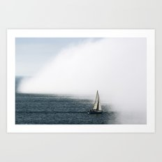 Sailboat Into Fog Art Print