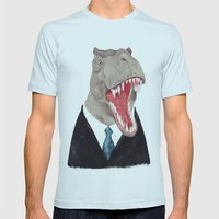 T. Rex - All Business Mens Fitted Tee Light Blue SMALL