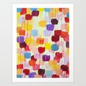 DOTTY - Stunning Bright Bold Rainbow Colorful Square Polka Dots Lovely Original Abstract Painting Art Print