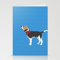 Stationery Card featuring Beagle in Snow Art by ialbert