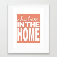 Shalom in the Home, salmon Framed Art Print