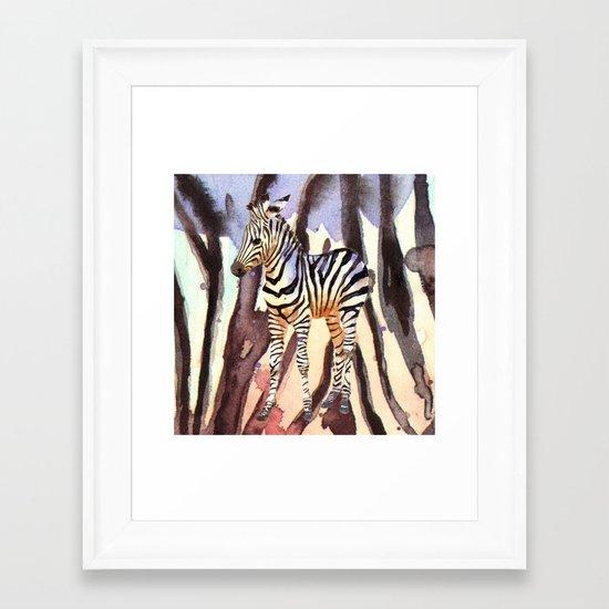 Camouflage Zebra, wildlife art, zebra art, cute nursery zebra, zebra pillow, safari art Framed Art Print
