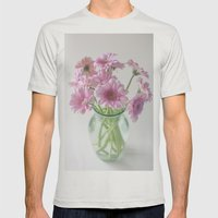 Pink Gerberas In A Vase  Mens Fitted Tee Silver SMALL