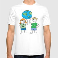 Recycle Message Kids Mens Fitted Tee White SMALL