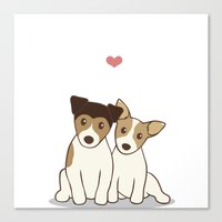 Dogs in Love Illustration Canvas Print