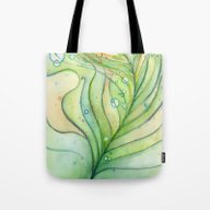 Green Watercolor Feather… Tote Bag