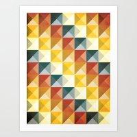 B/W/Y/O/R Art Print