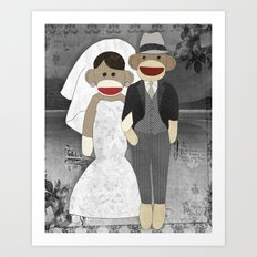 Sock Monkey Wedding Art Print