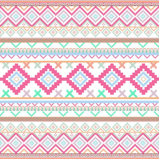 Pink teal Aztec Tribal Diamond geometric Pattern Art Print